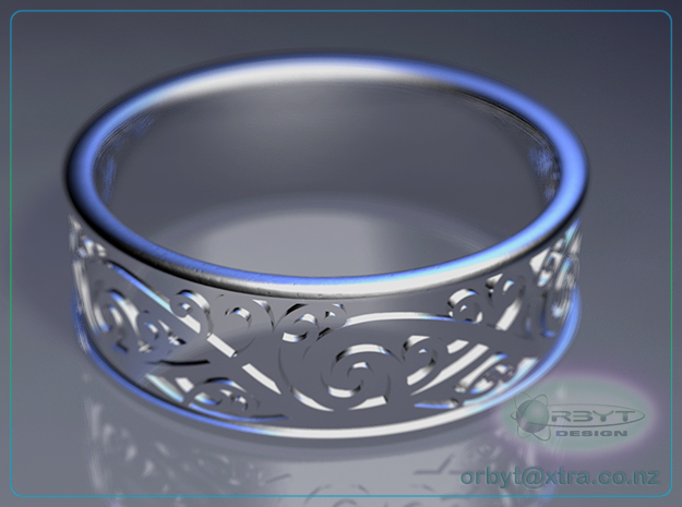 Maori Kowhaiwhai Design Ring - US Size 10 (19.9mm) in Polished Silver