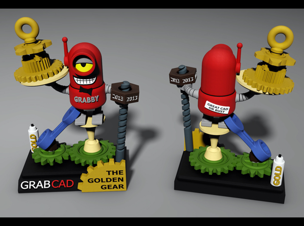 Golden Gear Award for GrabCAD Greatness 3d printed Rendering in Full Color Sandstone