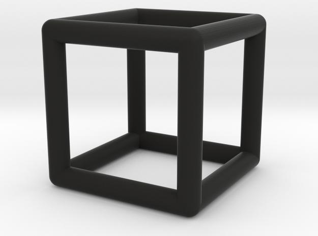 Cube Pendant in Black Natural Versatile Plastic