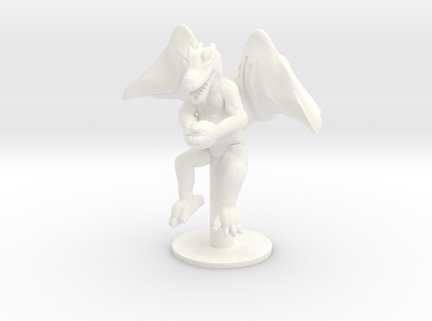 Flying Winged Kobold with Rock in White Processed Versatile Plastic