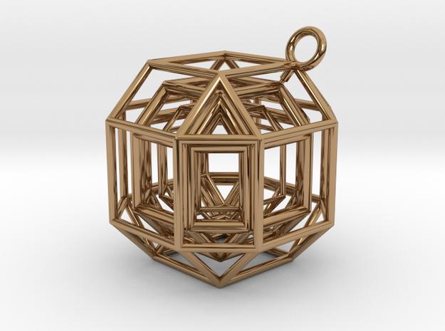 "Pendant ""Diamond pheromone"" in Polished Brass (Interlocking Parts)"