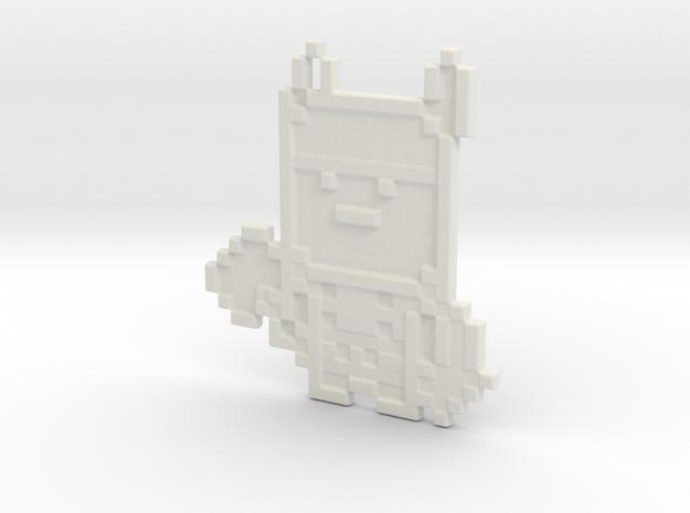 Pixel Thor Keychain in White Natural Versatile Plastic