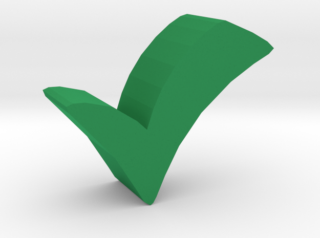 Game Piece, Check Symbol in Green Processed Versatile Plastic