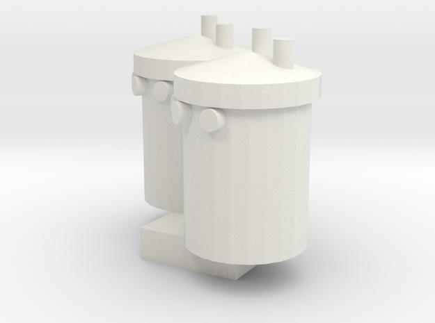 Transformer Pair- HO Scale in White Natural Versatile Plastic