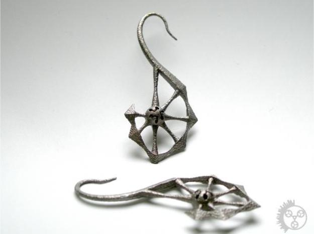 Spine Earrings 3d printed Unpolished Stainless