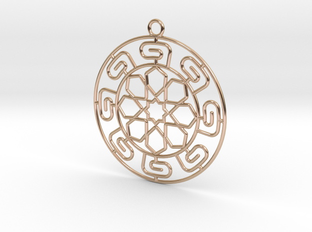 Pendant Chinese Motif 1 in 14k Rose Gold Plated Brass