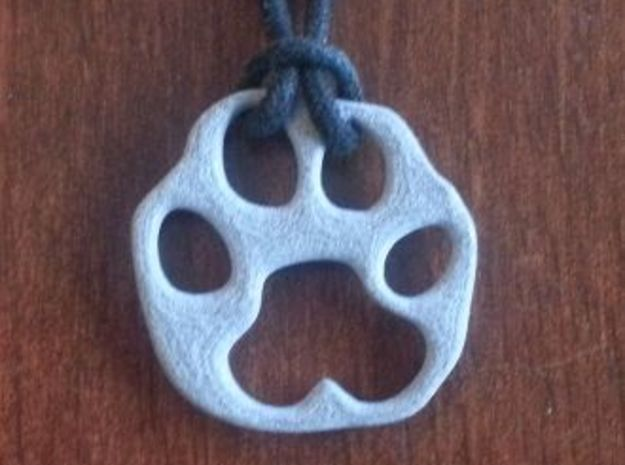 Bobcat paw print 3d printed Alumide, string not included
