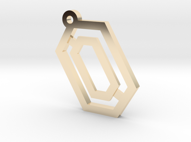 Hex Pendant in 14k Gold Plated Brass