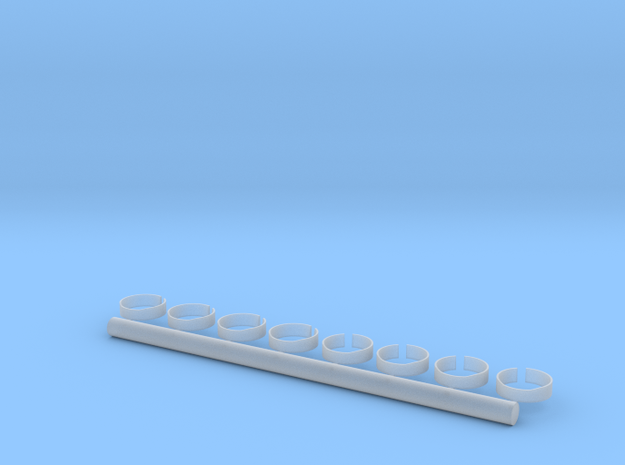 1/700 40mm Gun Tubs Set of 8 in Smooth Fine Detail Plastic