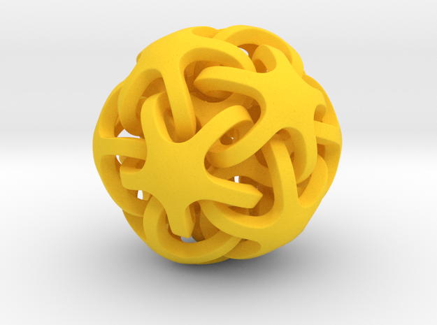 Interlocking Ball based on Dodecahedron in Yellow Strong & Flexible Polished