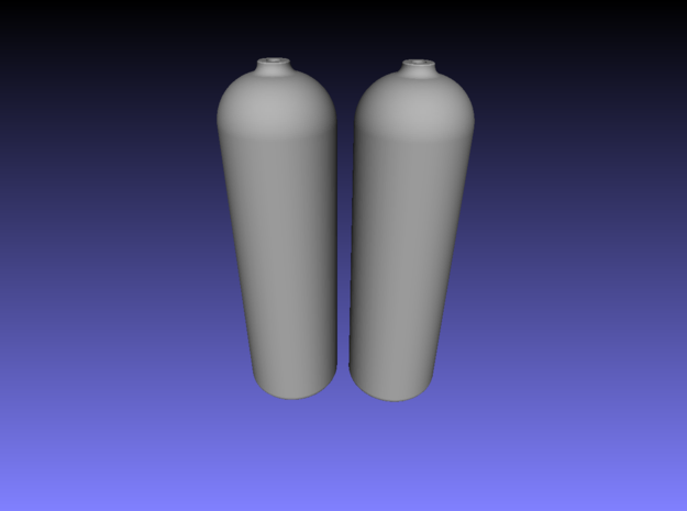1/6 Scale Scuba diving tanks-set of two.80 cuft  3d printed