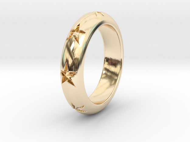 Ring Of Stars 14.9mm Size 4 in 14K Yellow Gold