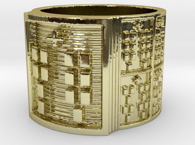 OKANAYABILE Ring Size 13.5 in 18k Gold Plated Brass