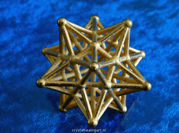 Stellated Dodecahedron -12 Pointed Merkaba in Polished Gold Steel
