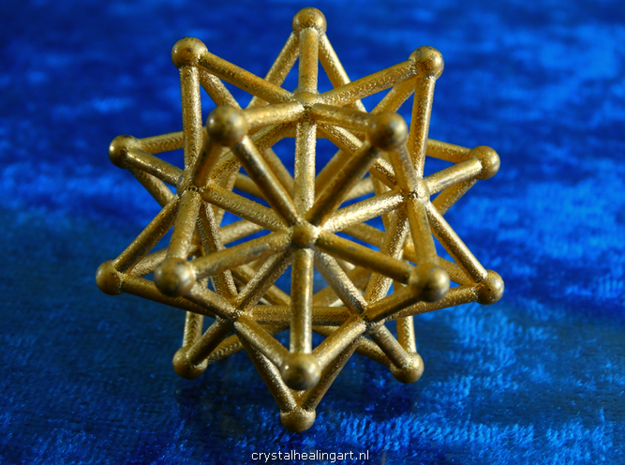 Stellated Icosahedron - 20 Pointed Merkaba in Polished Gold Steel