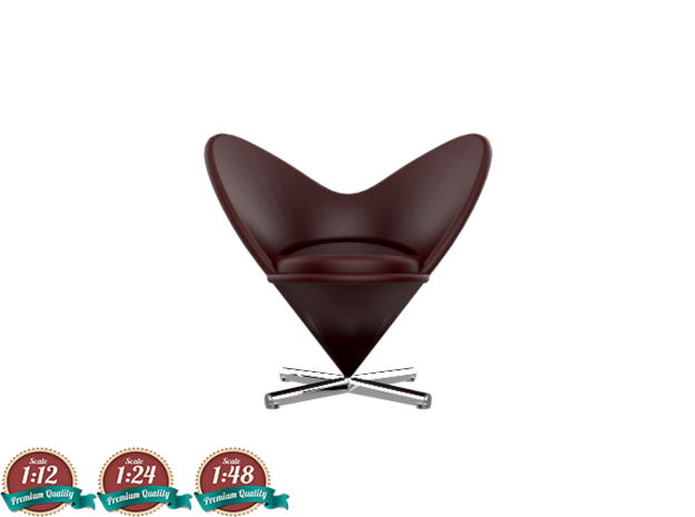 Miniature Heart Cone Chair - Verner Panton in White Strong & Flexible: 1:24