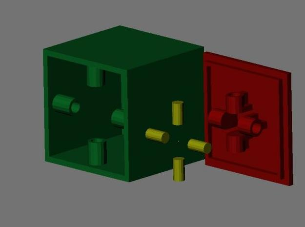 CentripetalBox 3d printed All parts of the CentripetalBox. The green is the outer box, into which you put your secret item. The red is the lid, which fits snugly into the box, and the yellow are the 4 plugs that slide inside the red and green cylinders.