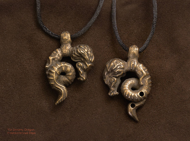 The Dreamy Dragon Pendant in Polished Bronze Steel