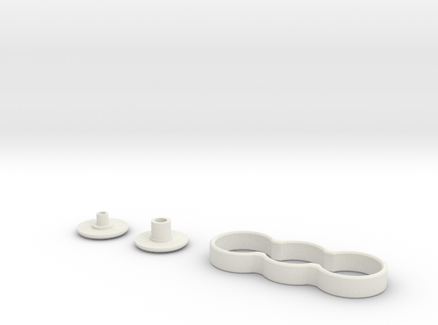 Minimalistic Double Spinner with Buttons in White Natural Versatile Plastic