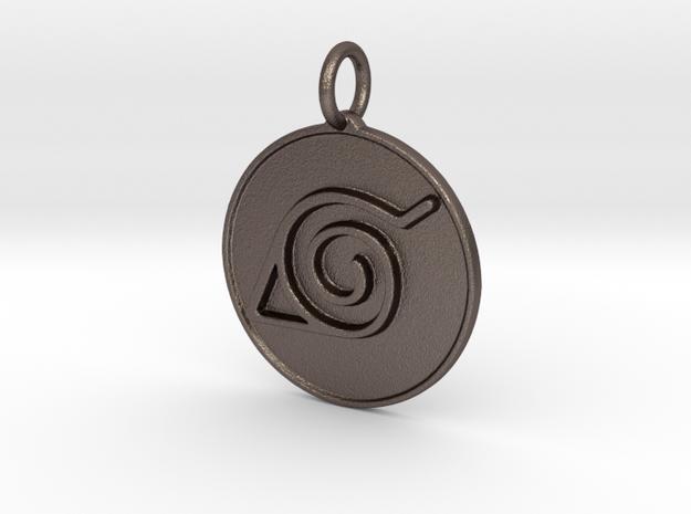 Naruto Konoha pendant in Polished Bronzed Silver Steel