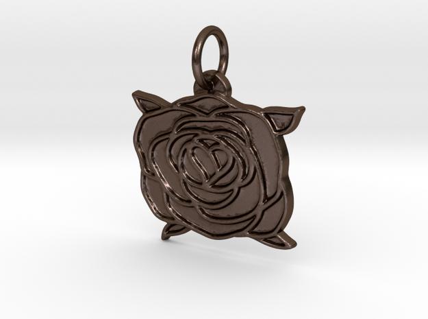 Heart rose in Polished Bronze Steel