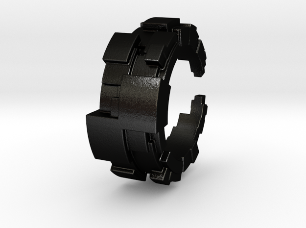 Pixel ring in Matte Black Steel