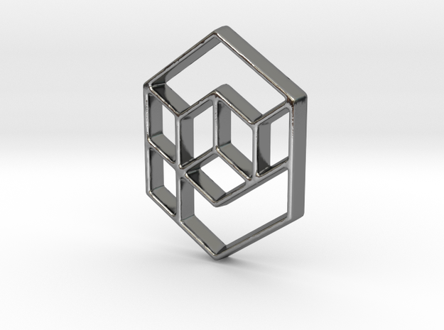 Geometrical cube in Polished Silver