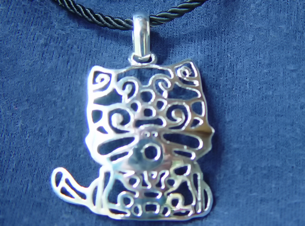 Hello Cat Pendant in Polished Silver (Interlocking Parts)