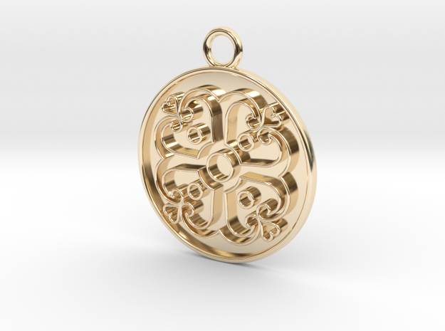Pendant Swirled Cross in 14k Gold Plated Brass