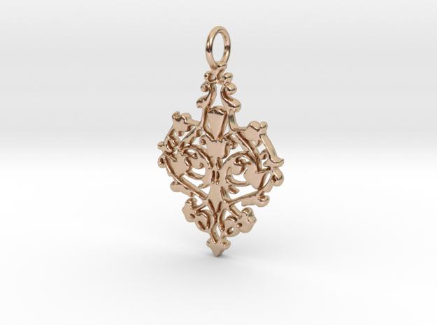 Elegant Vintage Classy Pendant Charm in 14k Rose Gold Plated