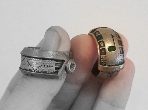 Robot Ring (Gold) in Black Strong & Flexible