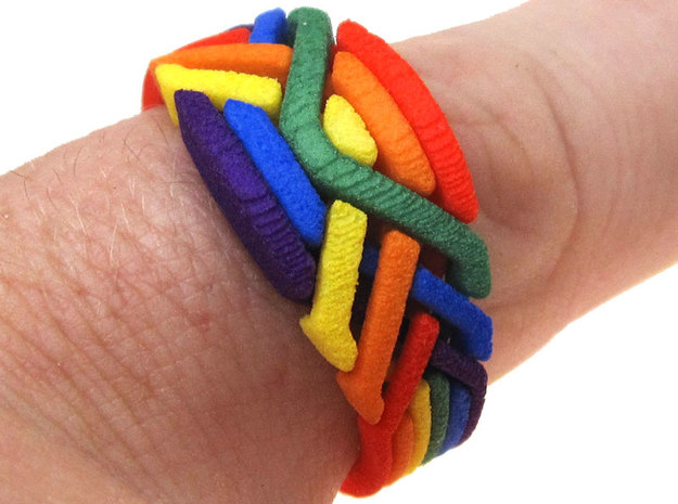 Rainbow Ring in White Strong & Flexible Polished