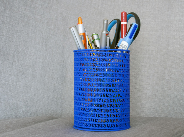 Pi Pen Holder medium in White Natural Versatile Plastic