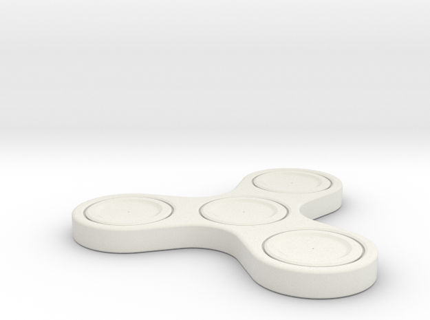 One Piece Fidget Spinner in White Natural Versatile Plastic