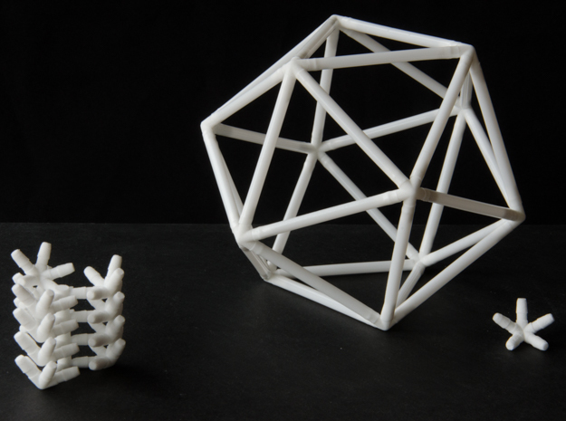 Icosahedron Straw Connectors in White Natural Versatile Plastic