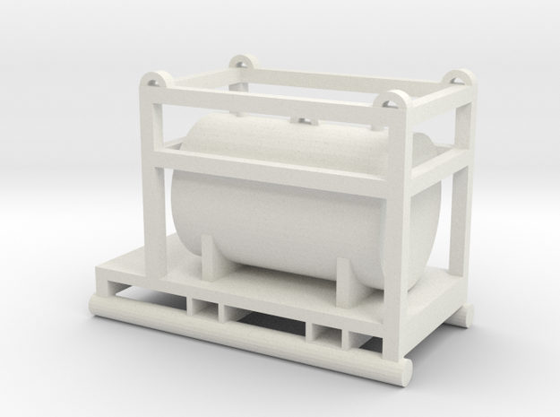 1:64 550 Gallon Skid Fuel Tank  in White Strong & Flexible