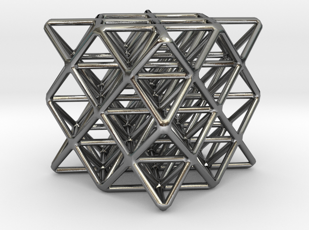 64 sided tetrahedron grid in Polished Silver