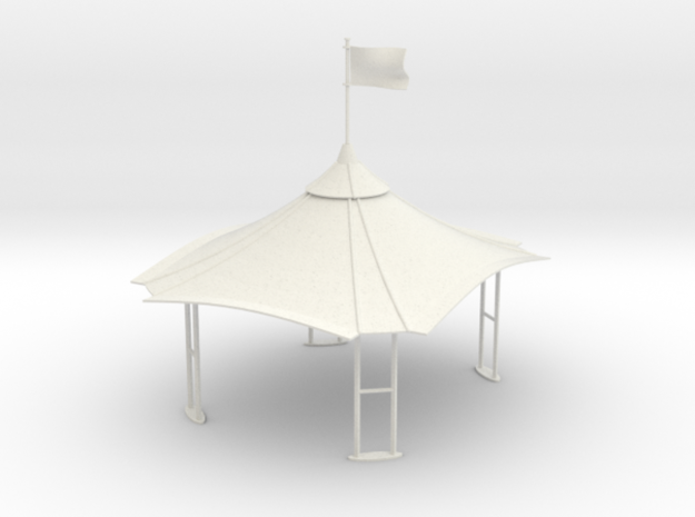 Gazebo / Tent / Stand (1:43) in White Strong & Flexible Polished