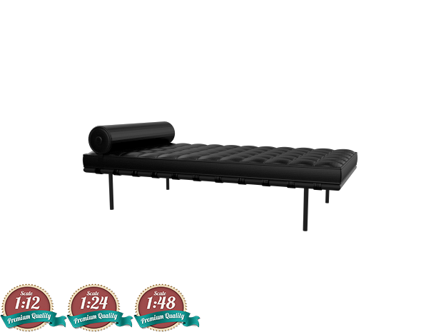 Miniature Barcelona Daybed Couch - Ludwig Van Der  in White Natural Versatile Plastic: 1:24
