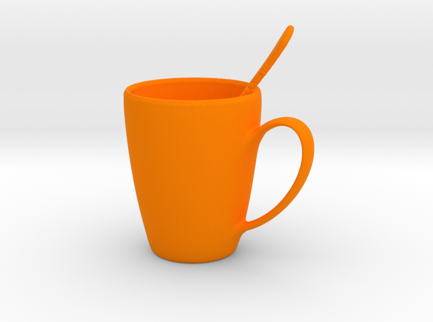 Coffee mug #5 - Spoon Included in Orange Strong & Flexible Polished