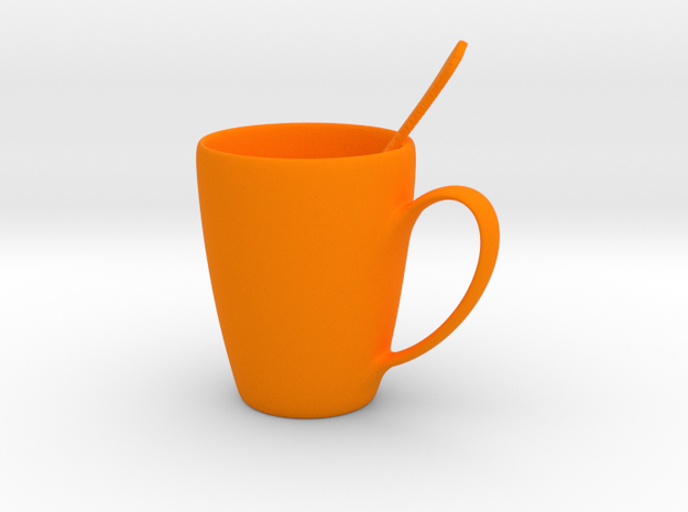 Coffee mug #5 XL - Spoon Included in Orange Strong & Flexible Polished