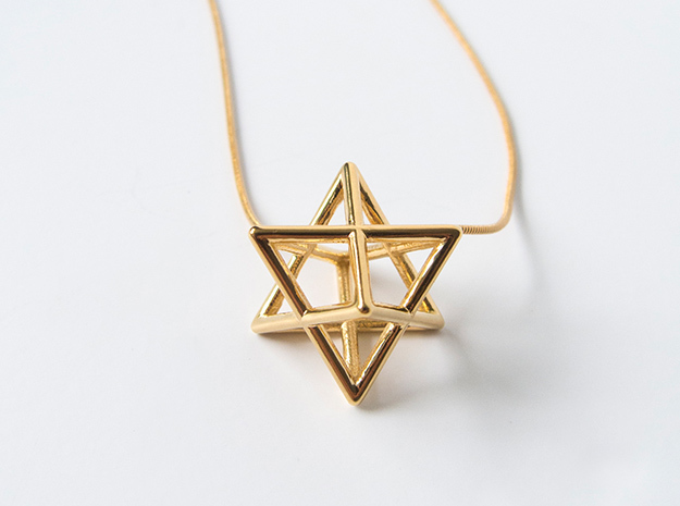 Merkaba pedant - medium in 14k Gold Plated Brass