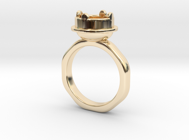 Ring Halkida - Round in 14k Gold Plated Brass: 5.5 / 50.25
