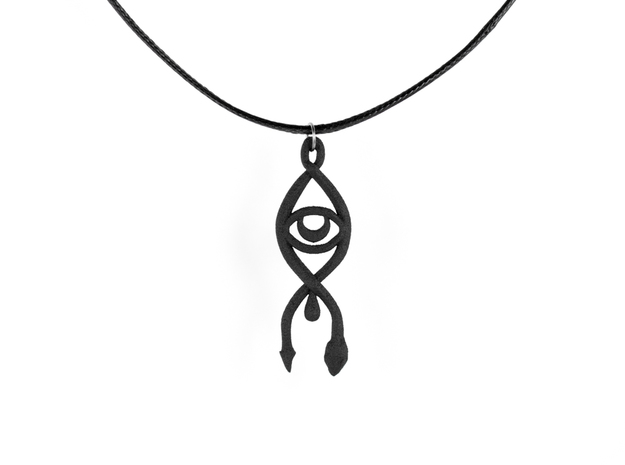 All Seeing Serpent Pendant in Black Natural Versatile Plastic