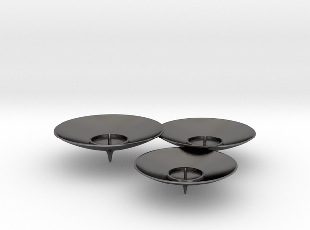 TRIO Candle holder in Polished Nickel Steel