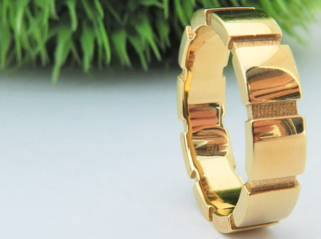 Square Band  M-006 in 14k Gold Plated Brass