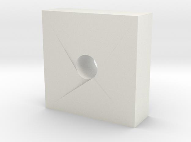 6x6x2mm  Barrel Lock block in White Natural Versatile Plastic