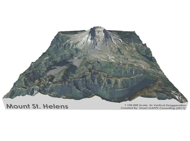 "Mount St. Helens Map: 8.5""x11"" in Matte Full Color Sandstone"