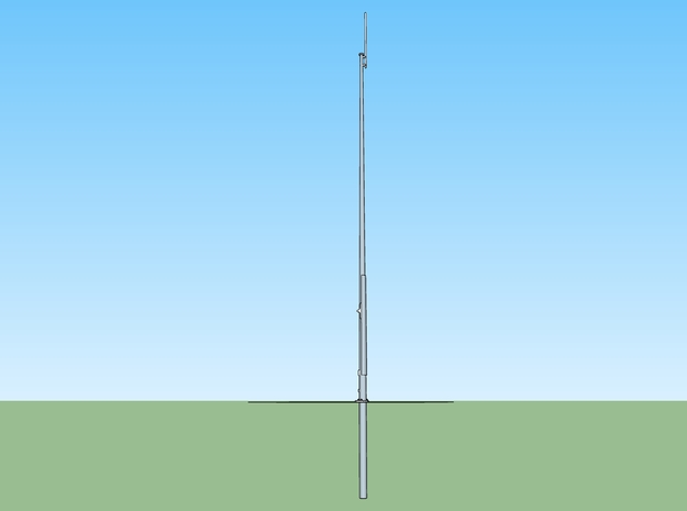 CSX PTC 60' Mast in HO in Smooth Fine Detail Plastic