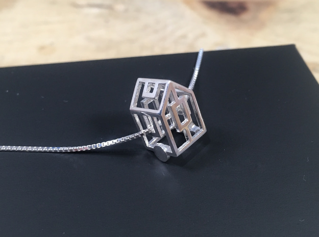 Tiny House Geometric 3D Pendant in Stainless Steel